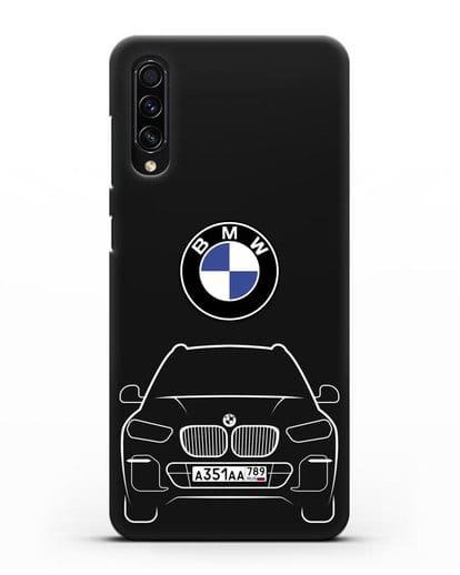 Чехол BMW X5 с автомобильным номером силикон черный для Samsung Galaxy A50s [SM-F507FN]