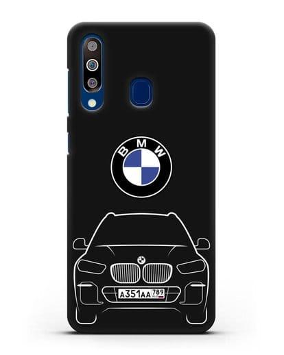 Чехол BMW X5 с автомобильным номером силикон черный для Samsung Galaxy A60 [SM-A606F]