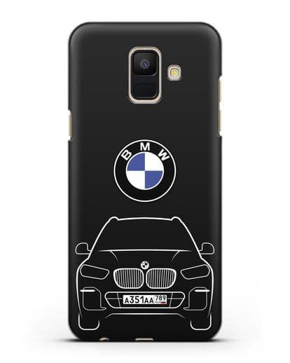 Чехол BMW X5 с автомобильным номером силикон черный для Samsung Galaxy A6 2018 [SM-A600F]