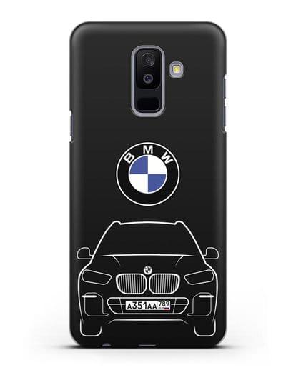 Чехол BMW X5 с автомобильным номером силикон черный для Samsung Galaxy A6 Plus 2018 [SM-A605F]
