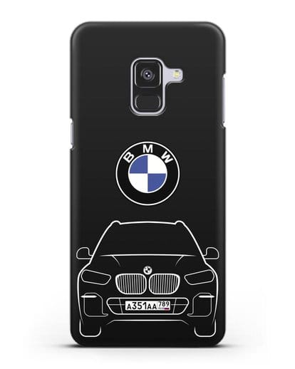 Чехол BMW X5 с автомобильным номером силикон черный для Samsung Galaxy A8 [SM-A530F]