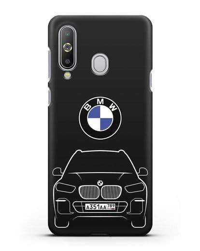 Чехол BMW X5 с автомобильным номером силикон черный для Samsung Galaxy A8s [SM-G8870]