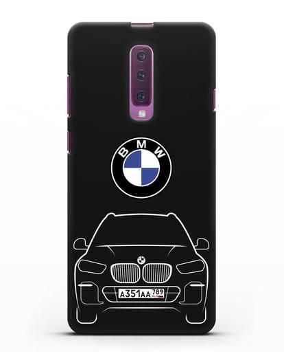 Чехол BMW X5 с автомобильным номером силикон черный для Samsung Galaxy A90 [SM-A908N]