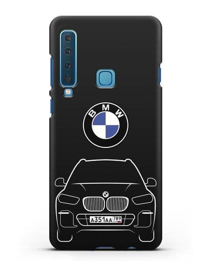 Чехол BMW X5 с автомобильным номером силикон черный для Samsung Galaxy A9 (2018) [SM-A920]