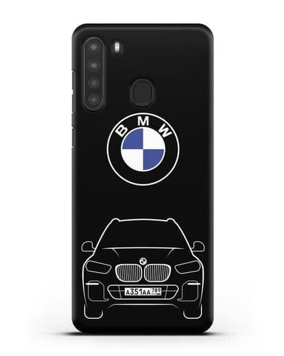 Чехол BMW X5 с автомобильным номером силикон черный для Samsung Galaxy A21 [SM-A215]