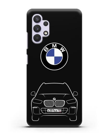 Чехол BMW X5 с автомобильным номером силикон черный для Samsung Galaxy A32 5G [SM-A326B]