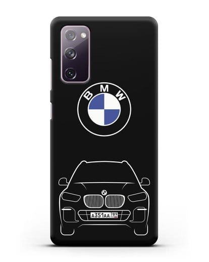 Чехол BMW X5 с автомобильным номером силикон черный для Samsung Galaxy S20 FE [SM-G780F]