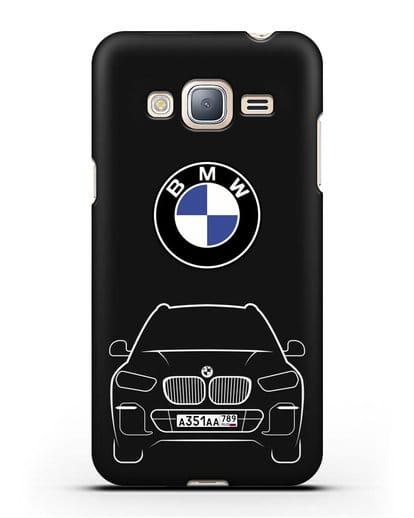 Чехол BMW X5 с автомобильным номером силикон черный для Samsung Galaxy J3 2016 [SM-J320F]