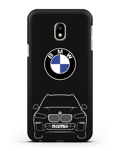 Чехол BMW X5 с автомобильным номером силикон черный для Samsung Galaxy J3 2017 [SM-J330F]