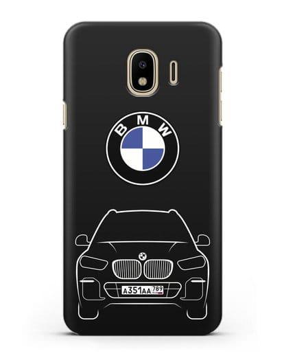 Чехол BMW X5 с автомобильным номером силикон черный для Samsung Galaxy J4 2018 [SM-J400F]