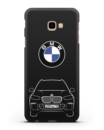 Чехол BMW X5 с автомобильным номером силикон черный для Samsung Galaxy J4 Plus [SM-J415]
