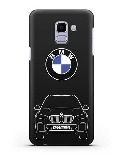 Чехол BMW X5 с автомобильным номером силикон черный для Samsung Galaxy J6 2018 [SM-J600F]
