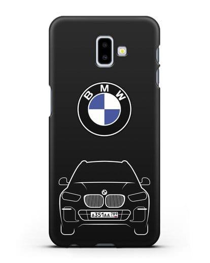 Чехол BMW X5 с автомобильным номером силикон черный для Samsung Galaxy J6 Plus [SM-J610F]