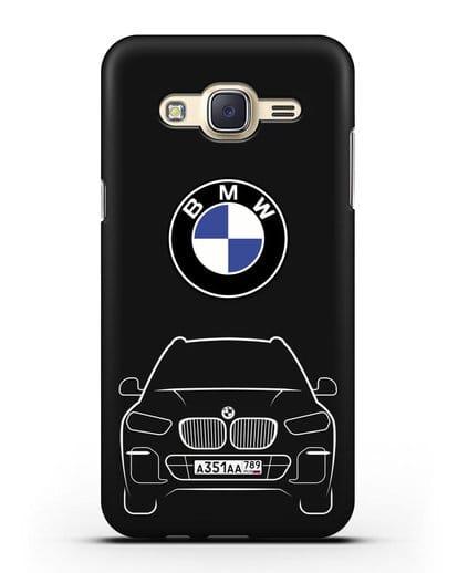 Чехол BMW X5 с автомобильным номером силикон черный для Samsung Galaxy J7 2015 [SM-J700H]