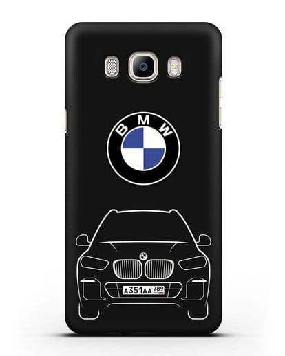 Чехол BMW X5 с автомобильным номером силикон черный для Samsung Galaxy J7 2016 [SM-J710F]