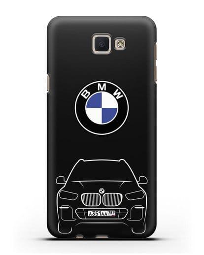 Чехол BMW X5 с автомобильным номером силикон черный для Samsung Galaxy J7 Prime [SM-G610F]