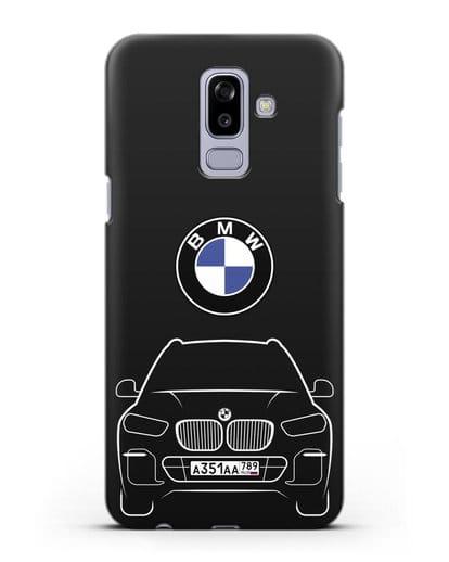 Чехол BMW X5 с автомобильным номером силикон черный для Samsung Galaxy J8 2018 [SM-J810F]