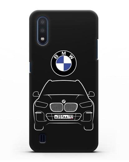 Чехол BMW X5 с автомобильным номером силикон черный для Samsung Galaxy M01 [SM-M015F]