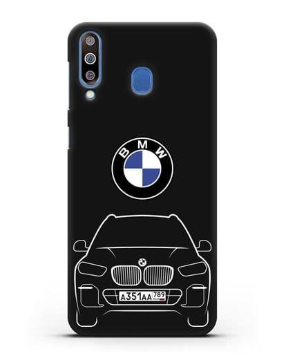 Чехол BMW X5 с автомобильным номером силикон черный для Samsung Galaxy M30 [SM-M305F]
