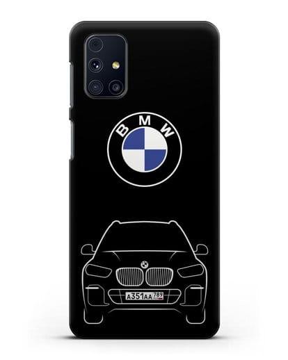 Чехол BMW X5 с автомобильным номером силикон черный для Samsung Galaxy M31s [SM-M317F]
