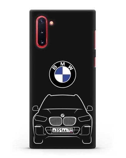 Чехол BMW X5 с автомобильным номером силикон черный для Samsung Galaxy Note 10 [N970F]