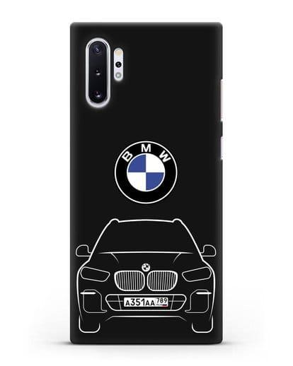 Чехол BMW X5 с автомобильным номером силикон черный для Samsung Galaxy Note 10 Plus [N975F]