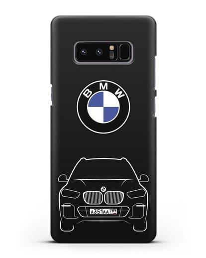 Чехол BMW X5 с автомобильным номером силикон черный для Samsung Galaxy Note 8 [N950F]