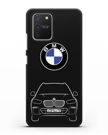 Чехол BMW X5 с автомобильным номером силикон черный для Samsung Galaxy S10 lite [SM-G770F]