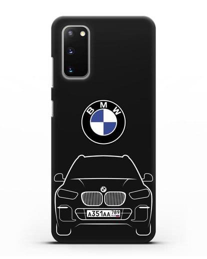 Чехол BMW X5 с автомобильным номером силикон черный для Samsung Galaxy S20 [SM-G980F]