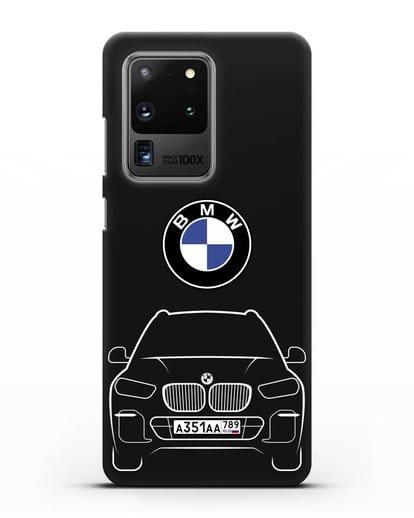 Чехол BMW X5 с автомобильным номером силикон черный для Samsung Galaxy S20 Ultra [SM-G988B]