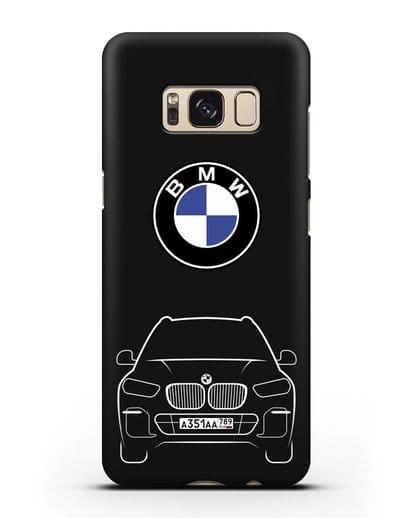Чехол BMW X5 с автомобильным номером силикон черный для Samsung Galaxy S8 Plus [SM-G955F]