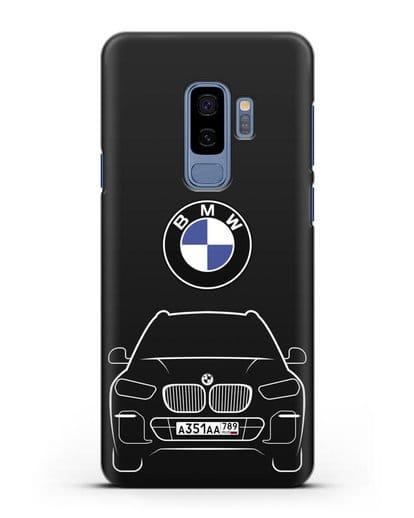 Чехол BMW X5 с автомобильным номером силикон черный для Samsung Galaxy S9 Plus [SM-G965F]