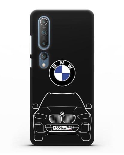 Чехол BMW X5 с автомобильным номером силикон черный для Xiaomi Mi 10 Pro