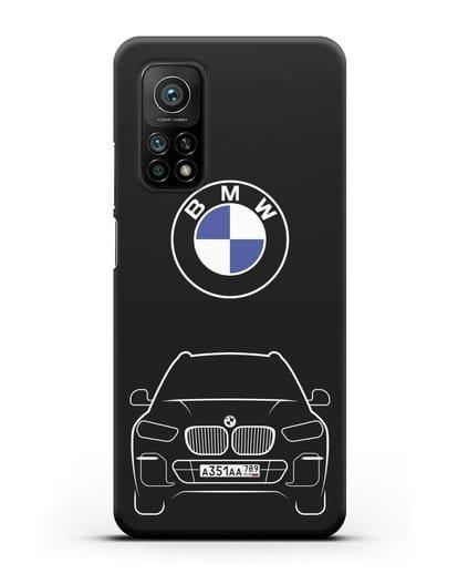Чехол BMW X5 с автомобильным номером силикон черный для Xiaomi Mi 10t Pro