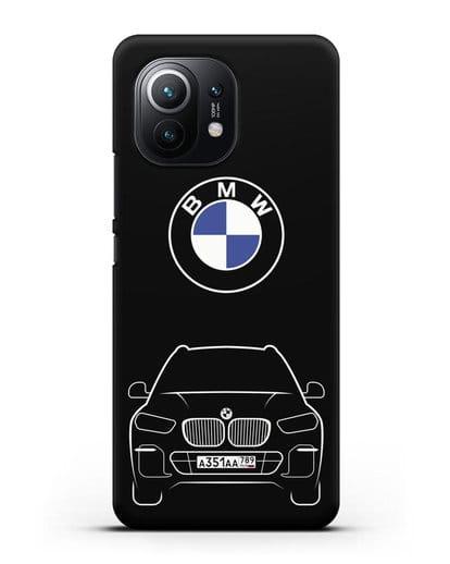 Чехол BMW X5 с автомобильным номером силикон черный для Xiaomi Mi 11