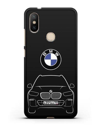 Чехол BMW X5 с автомобильным номером силикон черный для Xiaomi Mi 6X