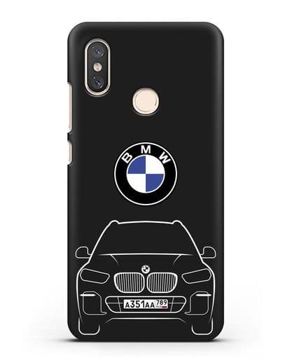Чехол BMW X5 с автомобильным номером силикон черный для Xiaomi Mi 8
