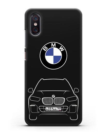 Чехол BMW X5 с автомобильным номером силикон черный для Xiaomi Mi 8 Pro