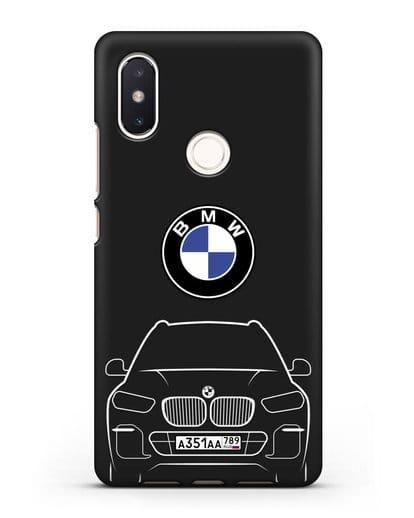 Чехол BMW X5 с автомобильным номером силикон черный для Xiaomi Mi 8 SE