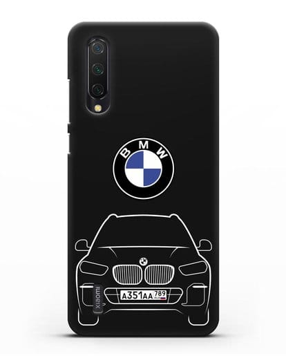 Чехол BMW X5 с автомобильным номером силикон черный для Xiaomi Mi 9 Lite