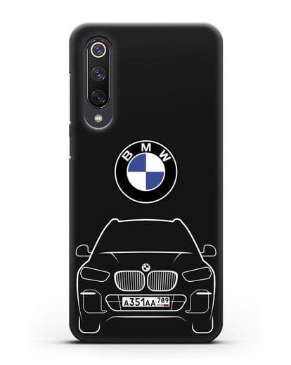 Чехол BMW X5 с автомобильным номером силикон черный для Xiaomi Mi 9 SE