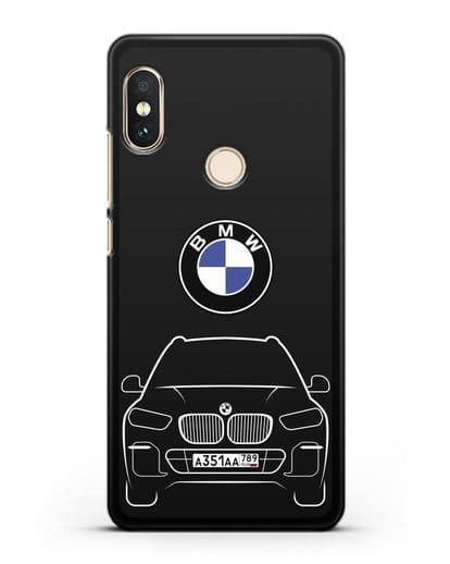 Чехол BMW X5 с автомобильным номером силикон черный для Xiaomi Mi A2 Lite