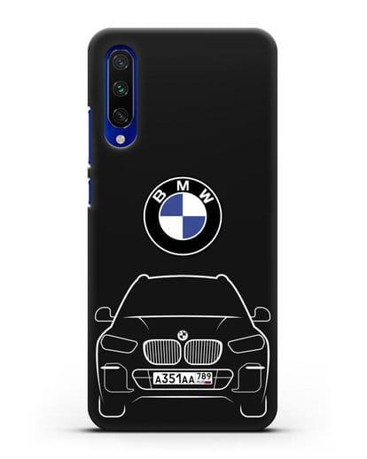 Чехол BMW X5 с автомобильным номером силикон черный для Xiaomi Mi CC9 E