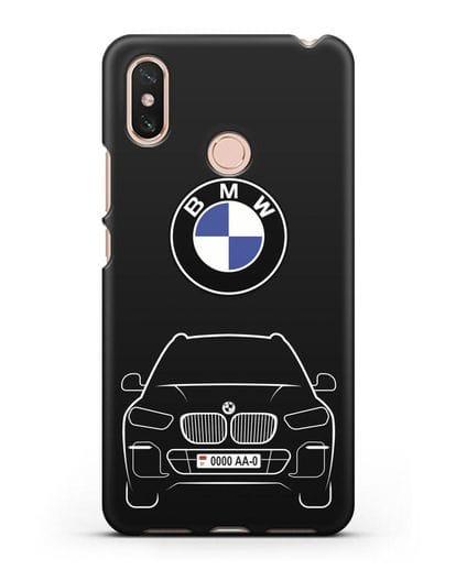 Чехол BMW X5 с автомобильным номером силикон черный для Xiaomi Mi Max 3