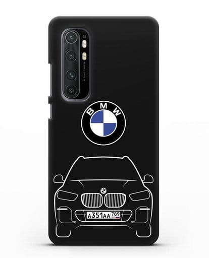 Чехол BMW X5 с автомобильным номером силикон черный для Xiaomi Mi Note 10 lite