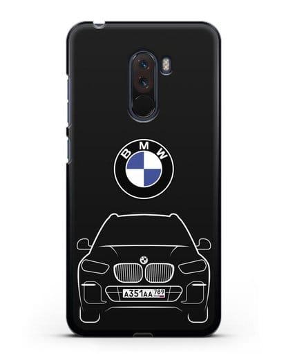 Чехол BMW X5 с автомобильным номером силикон черный для Xiaomi Pocophone F1