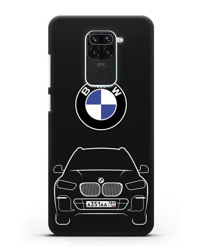 Чехол BMW X5 с автомобильным номером силикон черный для Xiaomi Redmi 10X