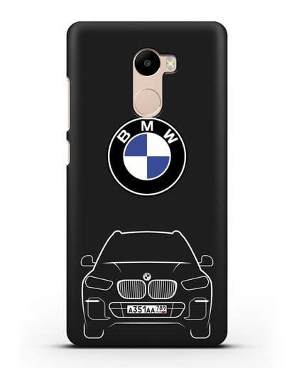 Чехол BMW X5 с автомобильным номером силикон черный для Xiaomi Redmi 4