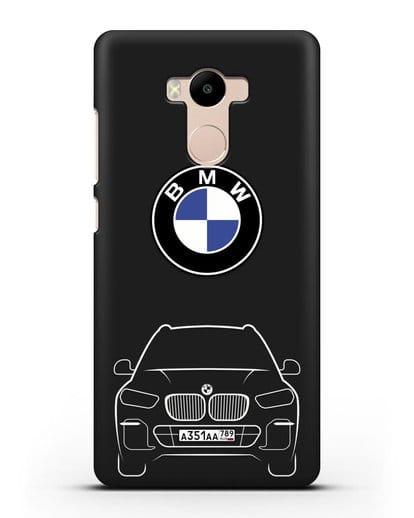 Чехол BMW X5 с автомобильным номером силикон черный для Xiaomi Redmi 4 Pro