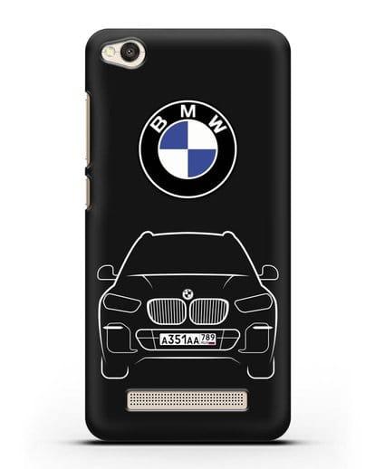 Чехол BMW X5 с автомобильным номером силикон черный для Xiaomi Redmi 4A